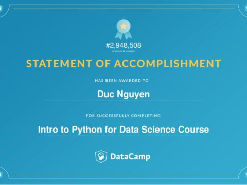 Finish my first course about Data Science!