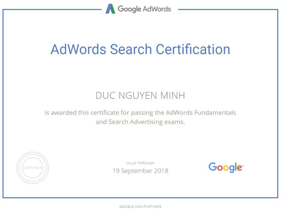 A new certification added to my profile – now people can trust me when I say I can do Google Adwords Search!